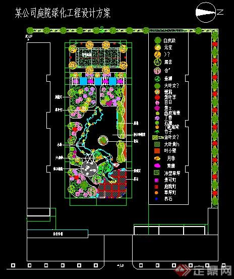 某公司庭院景观绿化设计CAD平面图