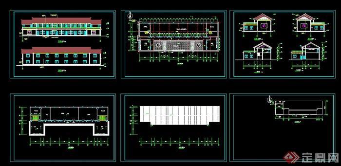 某仿古苹果活动中心建筑设计CAD老人图(带效图纸6cad方案图片
