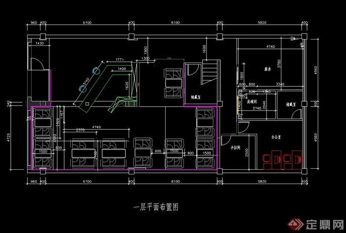 某茶楼室内装饰设计CAD施工图图片