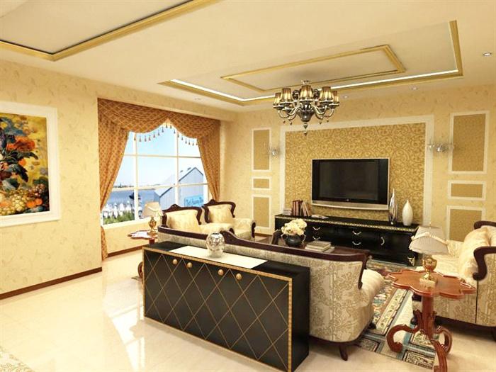 欧式风格三层住宅别墅室内装饰设计方案(含效果图、施工图、3d模型)(1)