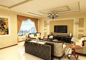 欧式风格三层住宅别墅室内装饰设计方案(含效果图、施工图、3d模型)