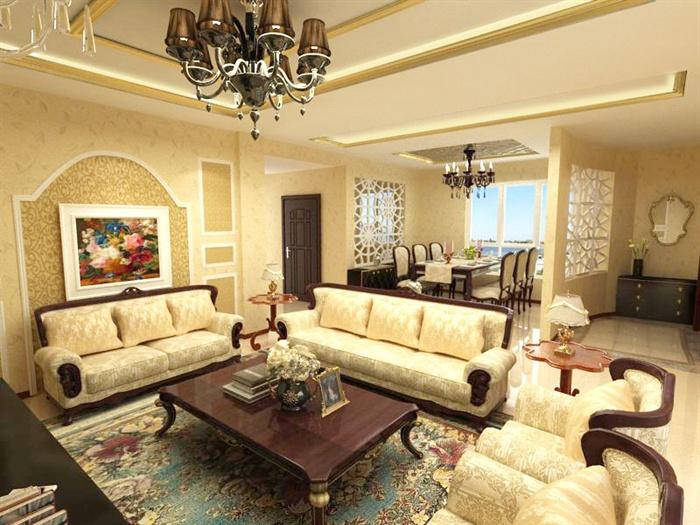 欧式风格三层住宅别墅室内装饰设计方案(含效果图、施工图、3d模型)(2)