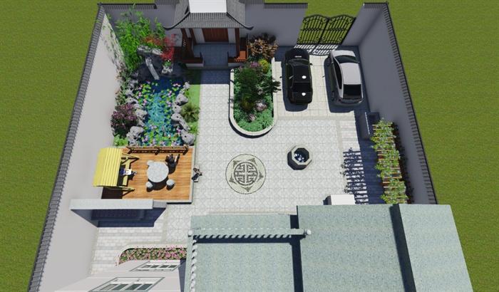 别墅精品新中式庭院设计su农村[原创]模型开工别墅图片