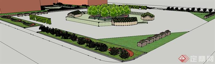 现代风格校园教学楼前广场景观设计su模型(1)