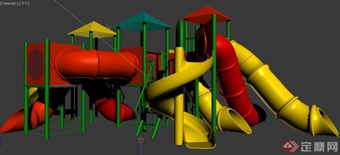 现代某儿童游乐设施滑梯设计3dmax模型(1)