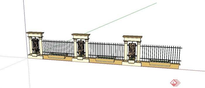 某欧式景观围墙设计su模型