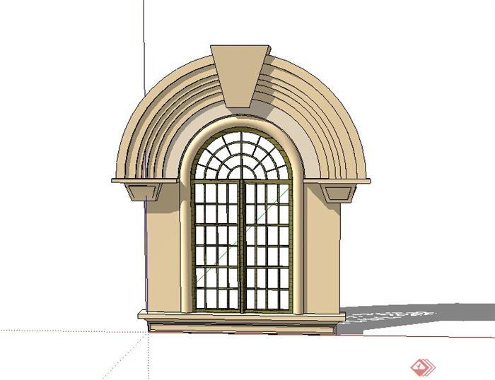 某建筑节点欧式窗子设计su模型(1)图片