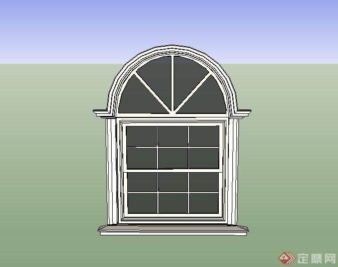 欧式某别墅建筑窗户设计su模型