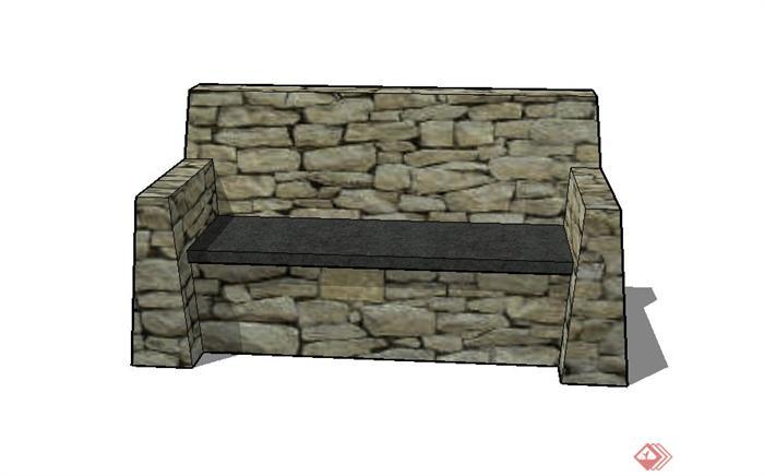 某室外石砌似沙发座椅设计su模型