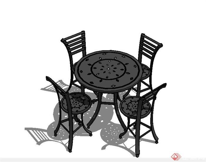 某欧式庭院休闲座椅设计su模型