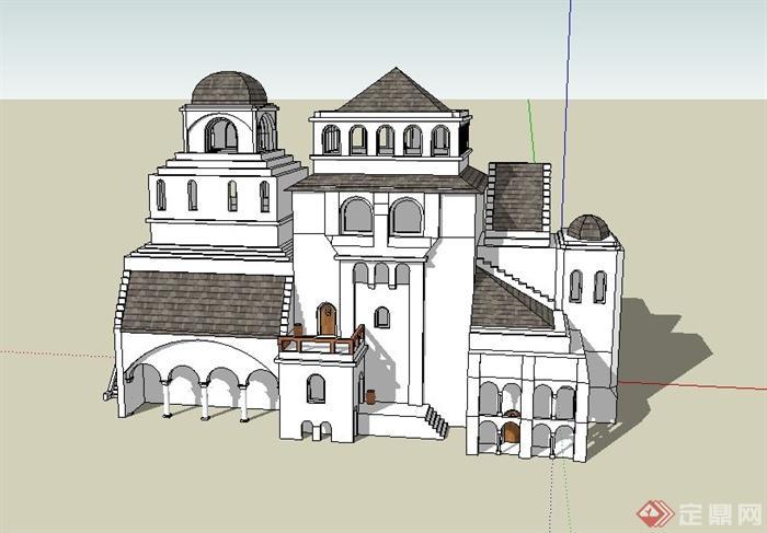 某欧式三层别墅住宅建筑设计su模型(1)