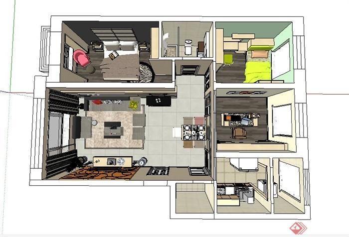 某小区两室一厅室内装修设计su设计
