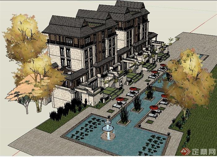某地东南亚风格别墅建筑设计su模型