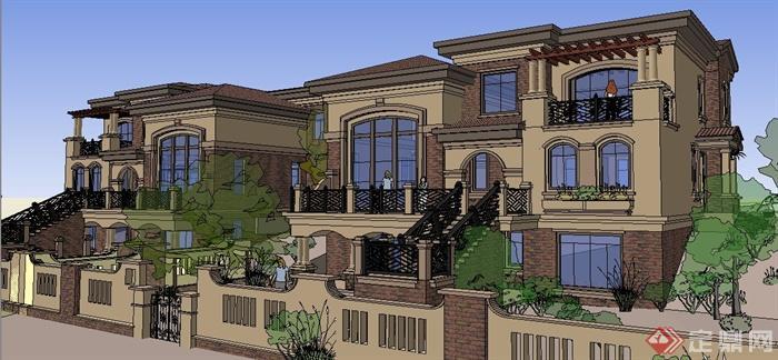 两栋欧式风格别墅建筑设计su模型,两栋别墅建筑轴对称式设计,包括建筑、大门围墙,模型制作精细,细节处理到位,建筑设计样式休闲美观,具有一定参考价值。