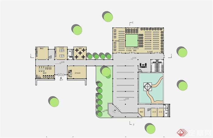 现代某中式社区文化中心建筑设计su模型和jpg效果图