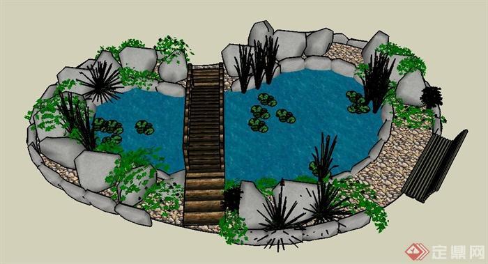 水池手绘平面图