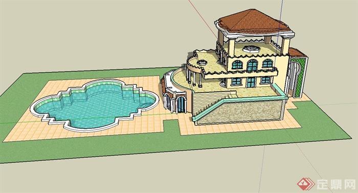 欧式豪华别墅建筑设计su模型(带泳池)