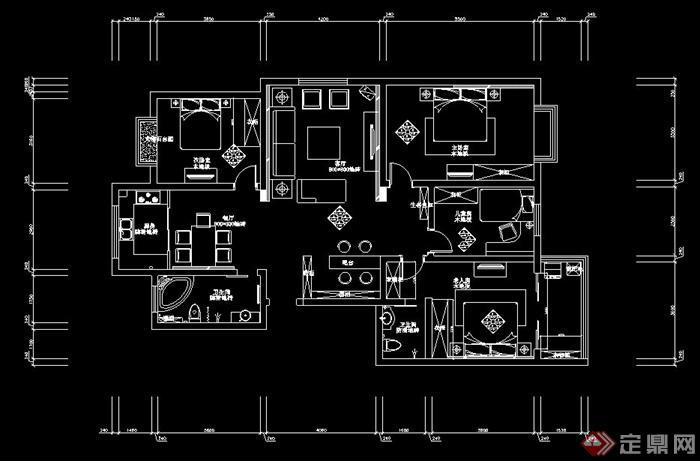 某四室两厅室内设计图纸 含效果图