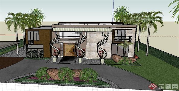 现代某两层豪华别墅建筑设计su模型