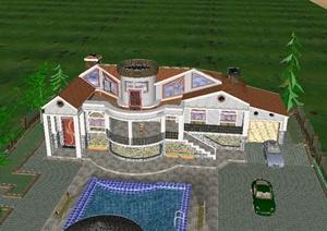 745m100               某欧式城堡式别墅建筑设计su模型,该模型制作