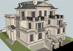 欧式双拼别墅住宅建筑设计SU(草图大师)精致模型-CAD广场设计别