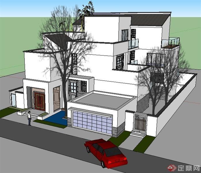 现代中式风格三层别墅建筑设计su模型(2)