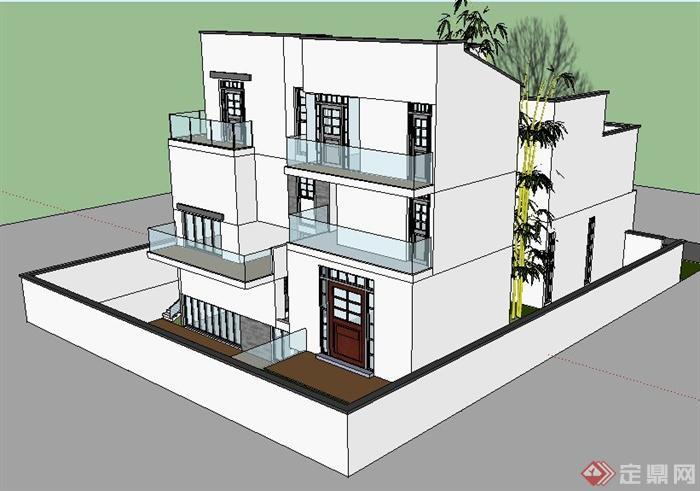 现代中式风格三层别墅建筑设计su模型(3)