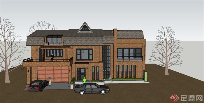 某两层英式别墅建筑设计su模型(1)
