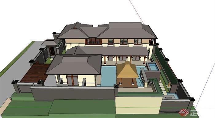 某新中式多层带地下室别墅建筑设计su模型(3)