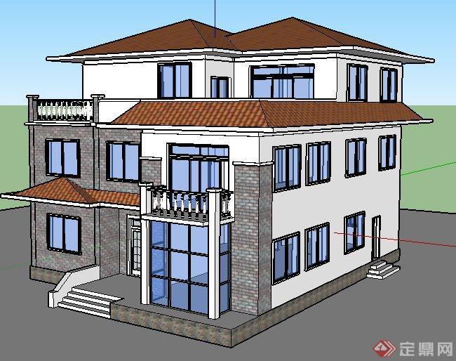 简欧风格乡村别墅建筑设计su模型
