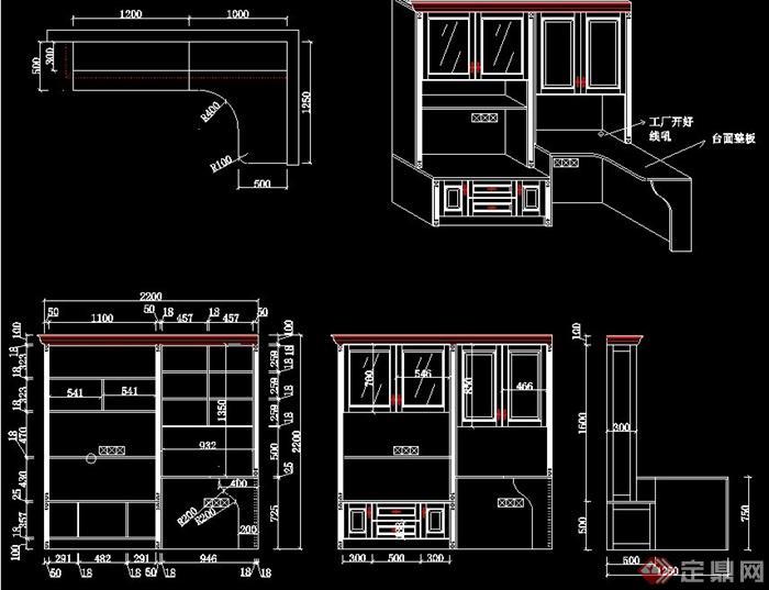 室内装饰书柜写字台设计CAD图纸图片
