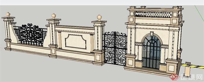 欧式风格围墙及大门su精致模型[原创]
