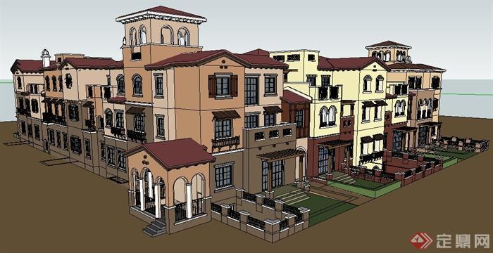 西班牙风格别墅建筑设计su模型(4)