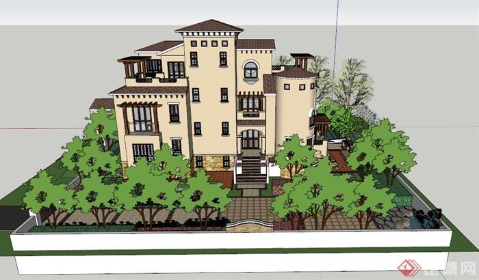 某欧式三层精致别墅建筑设计su模型