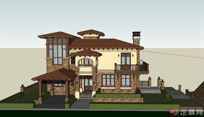 某歐式山地三層別墅建筑設計su模型