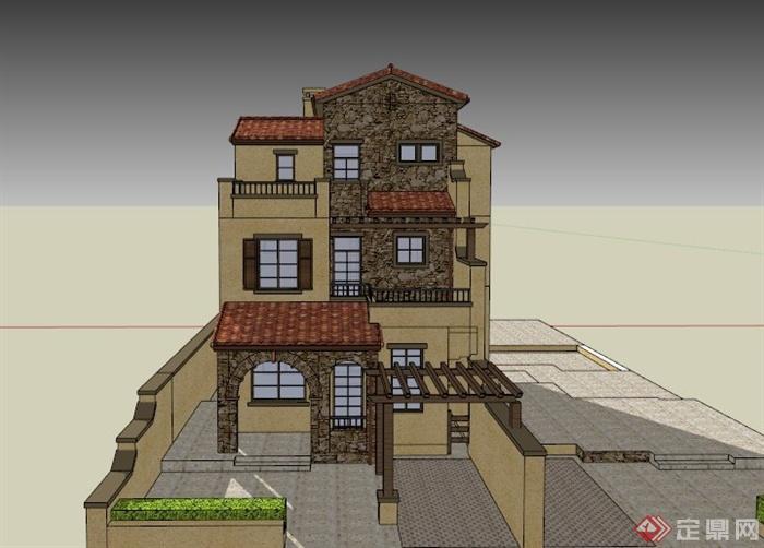 欧式某三层别墅建筑设计su模型(1)