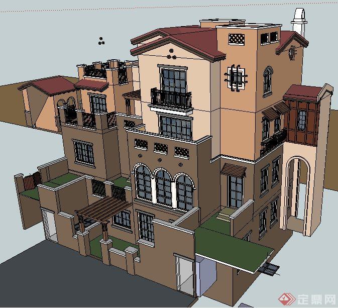 欧式风格四层别墅建筑设计su模型