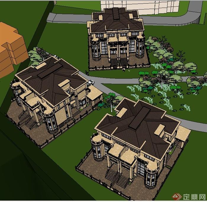 三栋欧式别墅建筑设计su模型