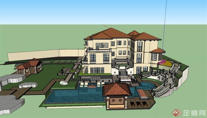 某欧式郊外别墅会所建筑设计su模型与景观设计效果图
