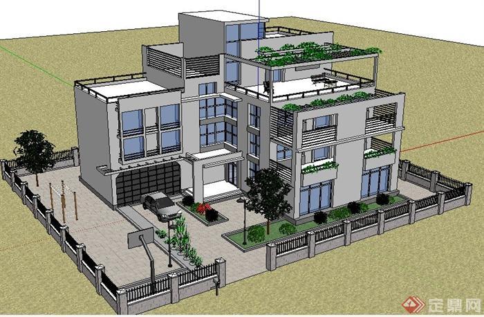 现代简约中式风格别墅建筑设计su模型