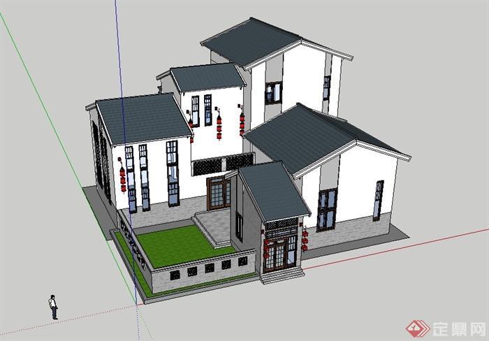 新中式别墅建筑设计su模型