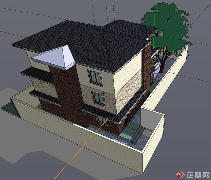 现代三层小别墅建筑设计SU模型图片