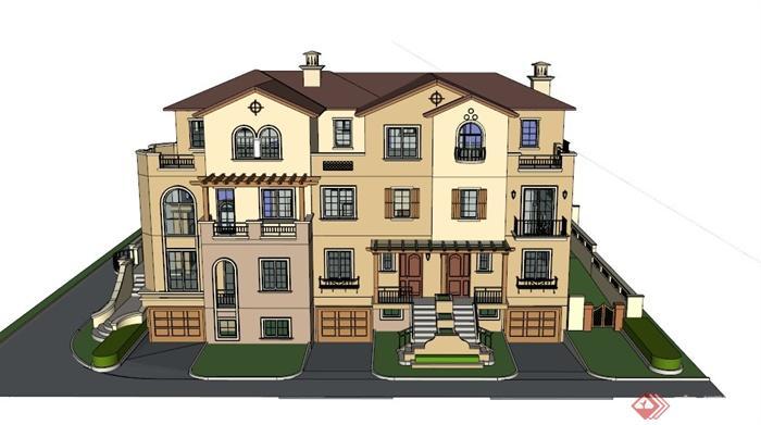 某欧式三层半别墅建筑设计su模型