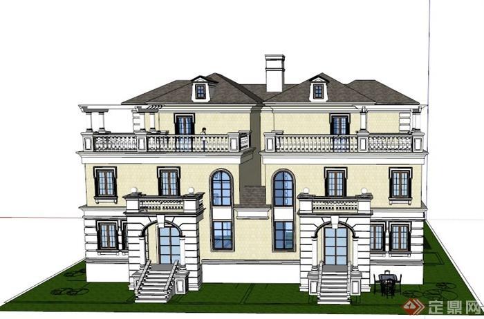 某欧式两栋三层联排别墅建筑设计su模型