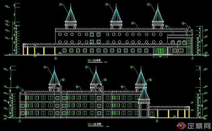 某城堡式三层幼儿园建筑设计图纸