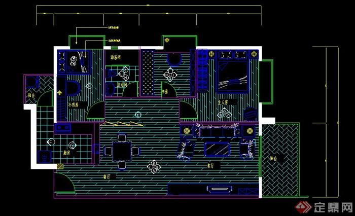 某两室一厅住宅空间室内装修设计CAD施工图