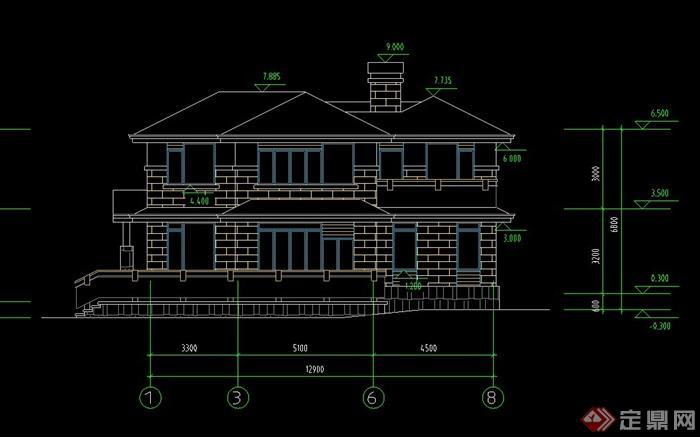 某现代两层别墅建筑设计CAD图