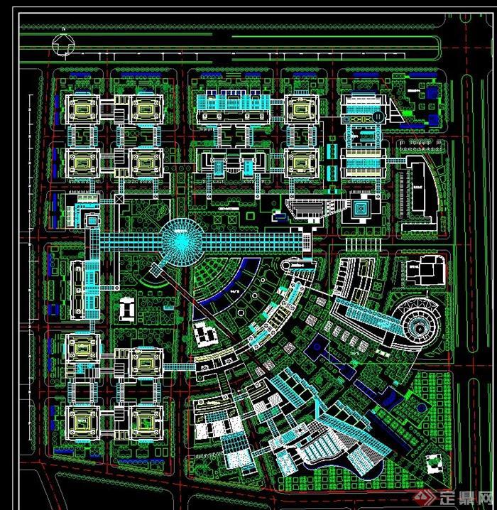 > 中关村规划设计总平面图,附有建筑名称和景观项目标注,具有一定的