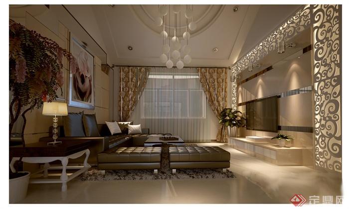 某二层复式住宅室内装饰设计图纸 含效果图高清图片