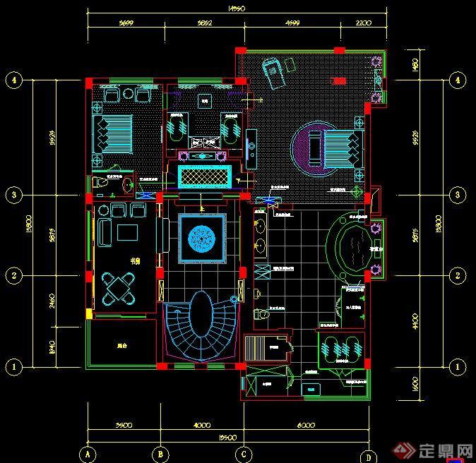 某中式风格二层住宅室内设计 含效果图高清图片